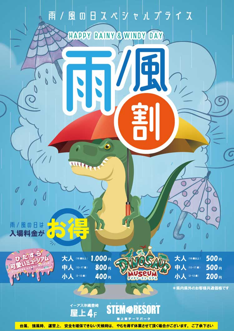 雨の日・風の日のスペシャル割り引き STEM RESORTステムリゾート沖縄
