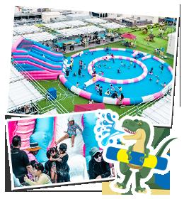 ダイナソー プール - お子様が喜ぶ大型プールが屋上に登場|ステムリゾート STEM-RESORT 沖縄豊崎