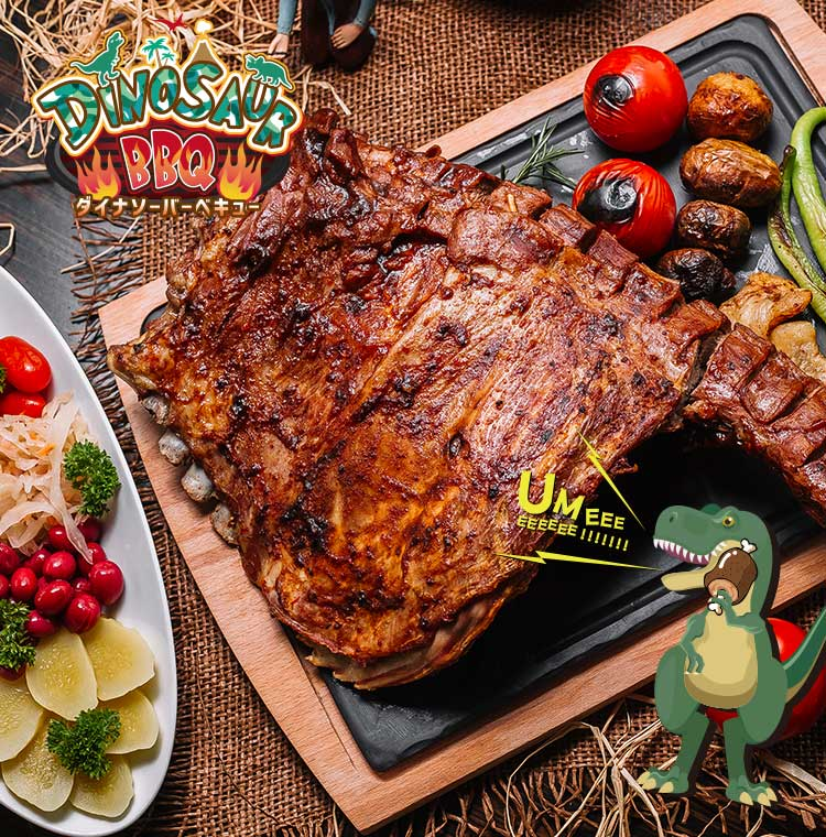ダイナソーパークの中でバーベキュー|DINOSAUR BBQ & PARK 沖縄 ステムリゾート